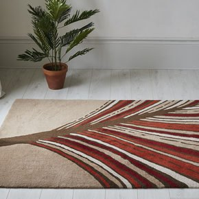 Palm Frond Leaf Statement Modern Rug