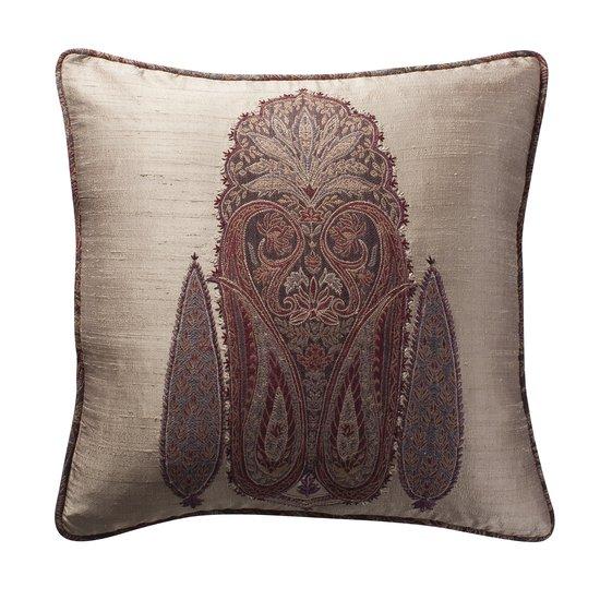 Paisley applique cushion grey weave 17x17