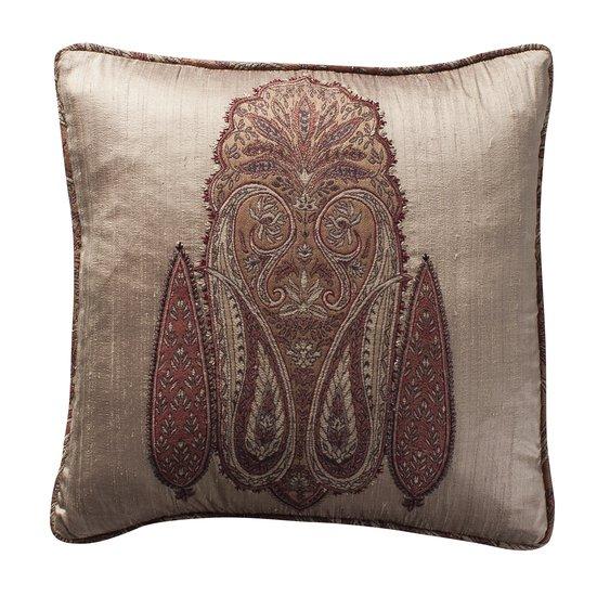 Paisley applique  cushion champagne weave 17x17