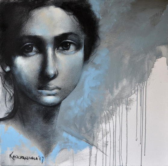 Kanchanmala  innocence ii  36 x 36 in  rs 90k  charcoal   acrylic on canvas '17 1 1