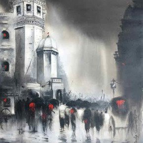 Dilip Chaudhury- Majestic Monsoons painting