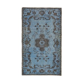 Light-Blue-&-Gray-Color-Overdyed-Vintage-Turkish-Rug_Rug-Specialist_Treniq_0