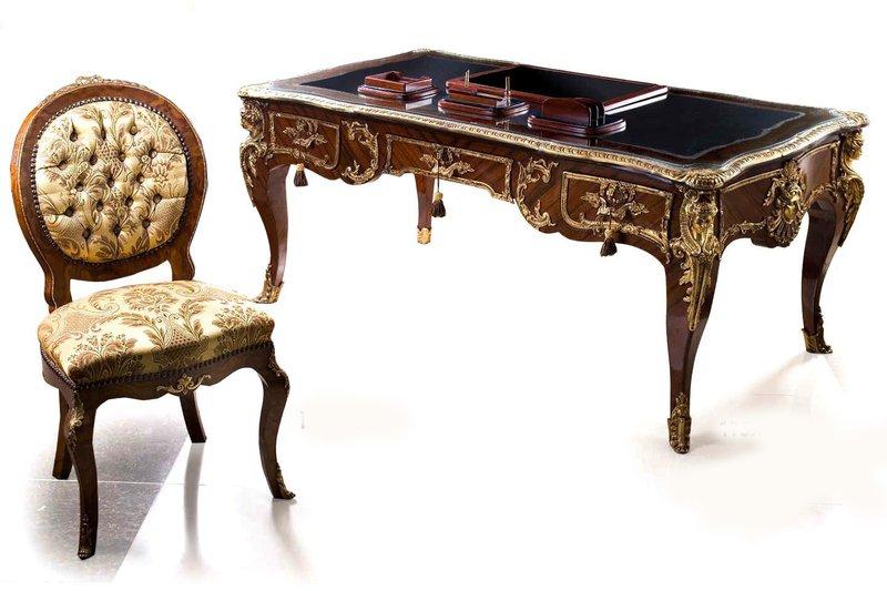 Charles cressent   leon kahn french regency louis xv style bureau plat antique taste treniq 1 1489780423807