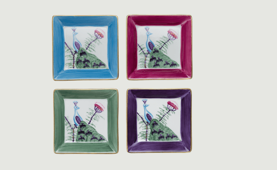 Limoges hand painted peacock medium square dish   set of 4   mixed colours rachel bates interiors ltd treniq 1 1491405733896