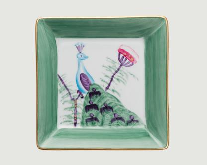 Limoges hand painted peacock medium square dish   set of 4   mixed colours rachel bates interiors ltd treniq 1 1491405735462