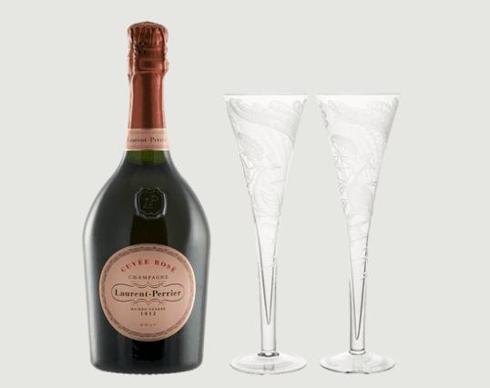Peacock crystal champagne flute gift set   clear rachel bates interiors ltd treniq 1 1491409546939