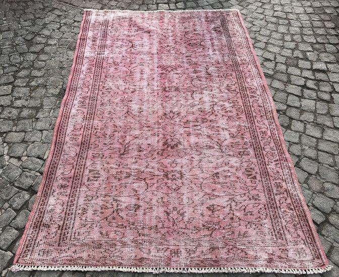 Vintage pink overdyed rug istanbul carpet treniq 1 1491564186182