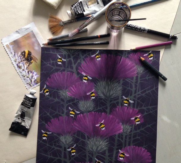 Bill's bees cushion collection in highand purple lux   bloom treniq 7 1491566754475