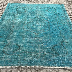 Turquoise-Blue-Handmade-Overdyed-Rug-Vintage-Turkish-Carpet_Istanbul-Carpet_Treniq_0