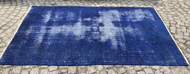 Navy blue overdyed handmade rug   vintage turkish carpet istanbul carpet treniq 1 1491568838130