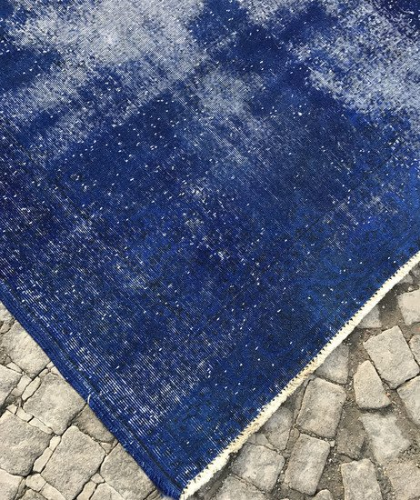 Navy blue overdyed handmade rug   vintage turkish carpet istanbul carpet treniq 1 1491568838131