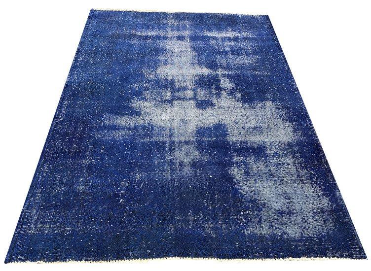 Navy blue overdyed handmade rug   vintage turkish carpet istanbul carpet treniq 1 1491568838128