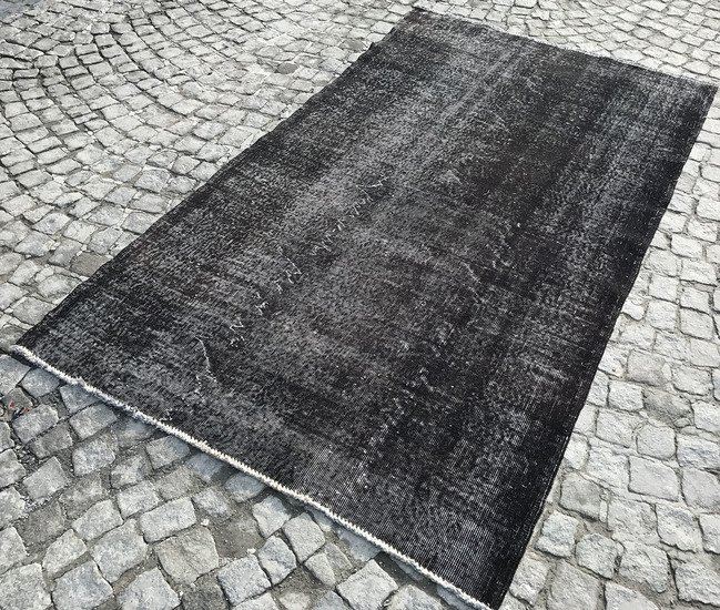 Black overdyed handmade rug   vintage turkish carpet istanbul carpet treniq 1 1491569012668