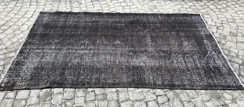 Black overdyed handmade rug   vintage turkish carpet istanbul carpet treniq 1 1491569012664