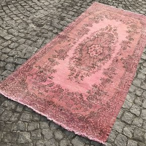 Pink-Overdyed-Turkish-Rug-Handmade-Vintage-Carpet_Istanbul-Carpet_Treniq_0