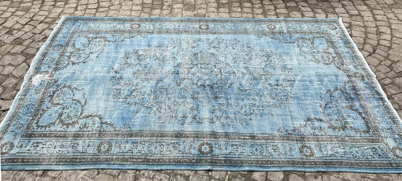 Aqua blue handmade overdyed rug   vintage turkish carpet istanbul carpet treniq 1 1491570462052