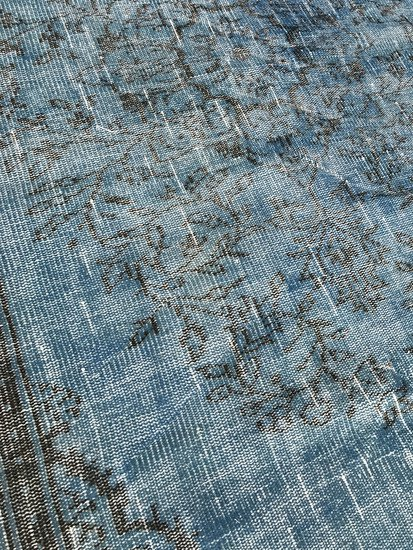 Aqua blue handmade overdyed rug   vintage turkish carpet istanbul carpet treniq 1 1491570462051