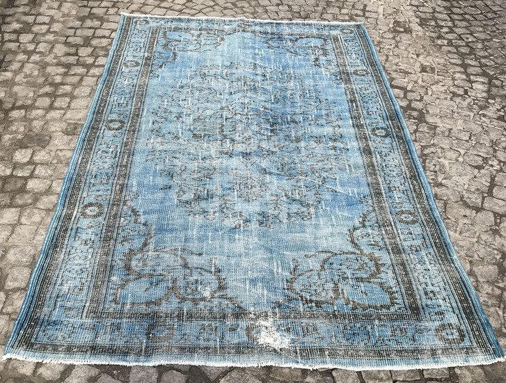 Aqua blue handmade overdyed rug   vintage turkish carpet istanbul carpet treniq 1 1491570462046