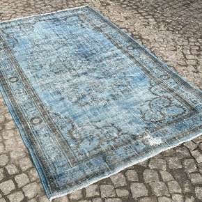 Aqua-Blue-Handmade-Overdyed-Rug-Vintage-Turkish-Muted-Carpet_Istanbul-Carpet_Treniq_0