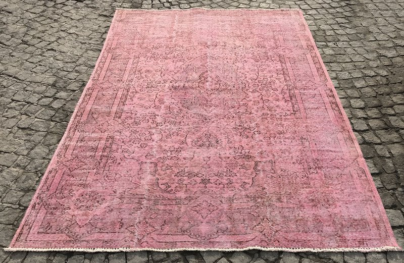Pink Overdyed Turkish Rug Handmade Vintage Muted Carpet Istanbul Treniq 1 1491571779967