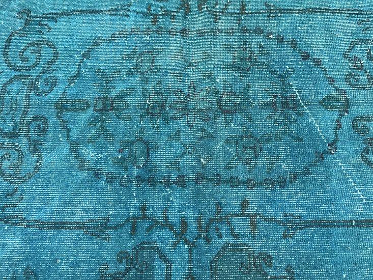 Turquoise blue handmade overdyed rug   vintage turkish mutedcarpet istanbul carpet treniq 1 1491572622932