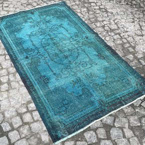 Turquoise-Blue-Handmade-Overdyed-Rug-Vintage-Turkish-Muted-Carpet_Istanbul-Carpet_Treniq_0