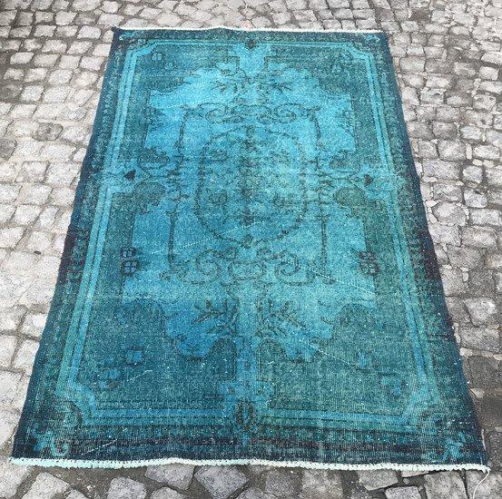 Turquoise blue handmade overdyed rug   vintage turkish mutedcarpet istanbul carpet treniq 1 1491572622934