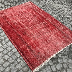 Red-Overdyed-Handmade-Rug-Vintage-Turkish-Red-Carpet_Istanbul-Carpet_Treniq_0