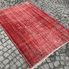 Red overdyed handmade rug   vintage turkish red carpet istanbul carpet treniq 1 1491576168233