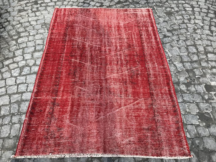 Red overdyed handmade rug   vintage turkish red carpet istanbul carpet treniq 1 1491576168231