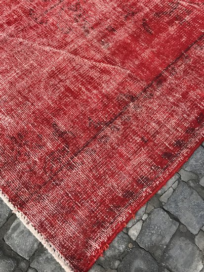 Red overdyed handmade rug   vintage turkish red carpet istanbul carpet treniq 1 1491576168235