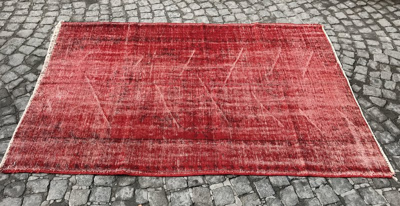 Red overdyed handmade rug   vintage turkish red carpet istanbul carpet treniq 1 1491576168234