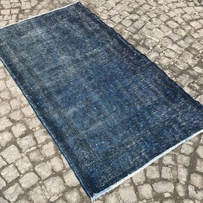 Navy-Blue-Overdyed-Handmade-Rug-Vintage-Turkish-Muted-Carpet_Istanbul-Carpet_Treniq_0