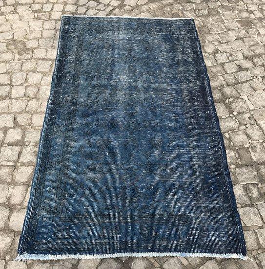 Navy blue overdyed handmade rug   vintage turkish muted carpet istanbul carpet treniq 1 1491576582767