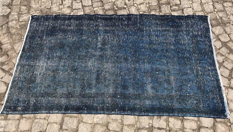Navy blue overdyed handmade rug   vintage turkish muted carpet istanbul carpet treniq 1 1491576582770