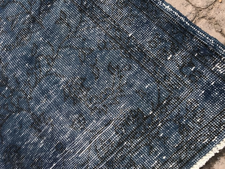 Navy blue overdyed handmade rug   vintage turkish muted carpet istanbul carpet treniq 1 1491576582771