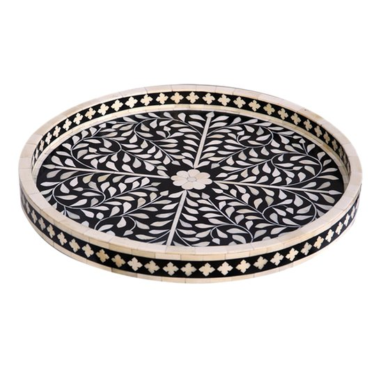 Bone inlay floral design round tray shiv artefacts treniq 1 1491748606062