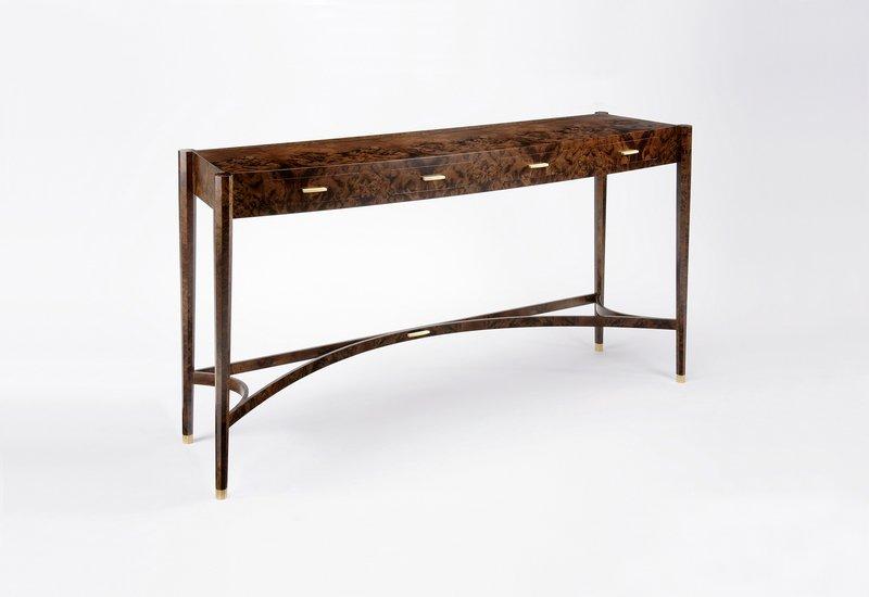 Burr walnut console table philip dobbins 1