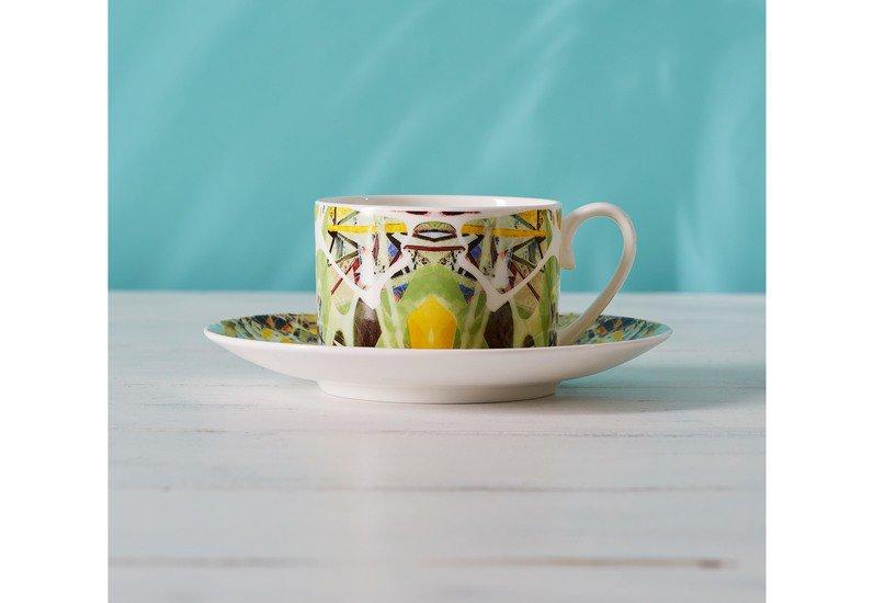 Kaleidoscope teacup and saucer spring designers atelier treniq 1 1492355829370
