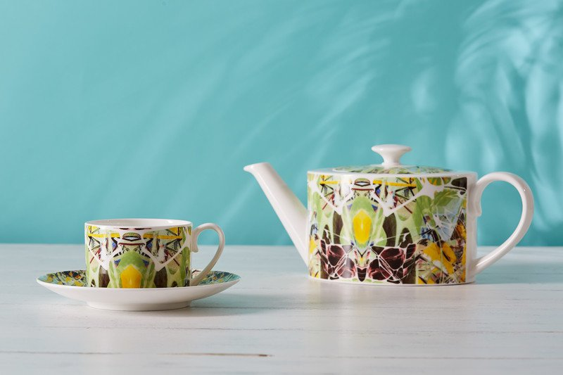 Kaleidoscope teacup and saucer spring designers atelier treniq 1 1492355874847