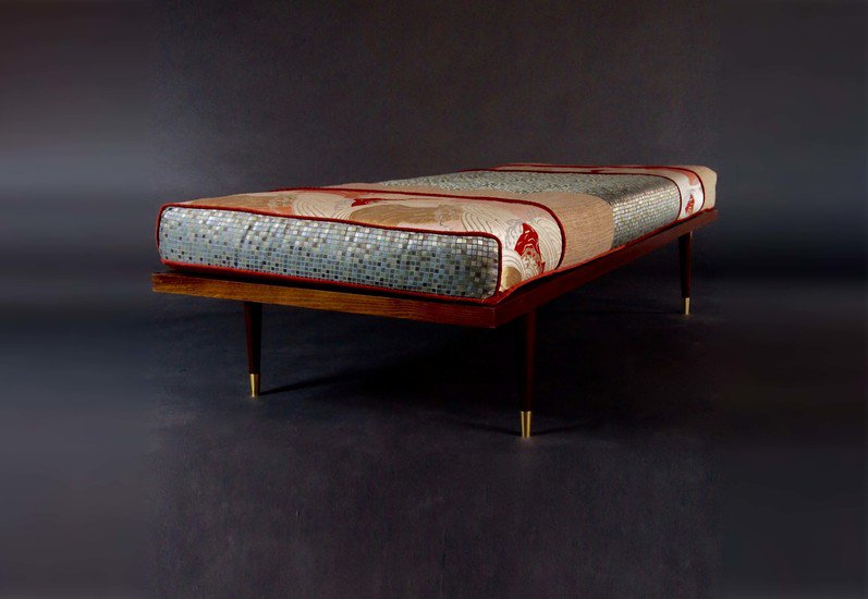 Midcentury inspired daybed  handmade with vintage obi five finger furnishings treniq 1 1492536401946