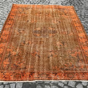 Orange-Overdyed-Handmade-Rug-Vintage-Turkish-Carpet_Istanbul-Carpet_Treniq_0