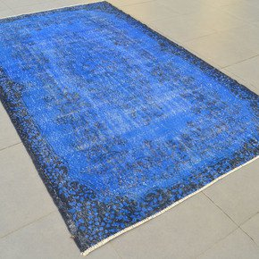 Royal-Blue-Handmade-Overdyed-Rug-Vintage-Turkish-Muted-Carpet_Istanbul-Carpet_Treniq_0