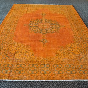 Oversized-Orange-Overdyed-Handmade-Rug-Vintage-Oushak-Carpet_Istanbul-Carpet_Treniq_0