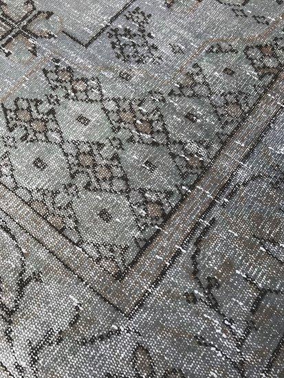 Grey and blue overdyed handmade rug   gray vintage turkish carpet istanbul carpet treniq 1 1493210062743