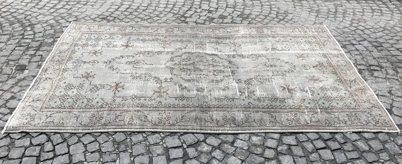 Grey and blue overdyed handmade rug   gray vintage turkish carpet istanbul carpet treniq 1 1493210062738