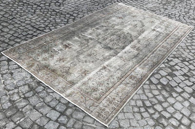 Grey and blue overdyed handmade rug   gray vintage turkish carpet istanbul carpet treniq 1 1493210062741