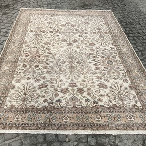 Beige-Cream-And-Brown-Overdyed-Handmade-Rug-Vintage-Oushak-Rug_Istanbul-Carpet_Treniq_0