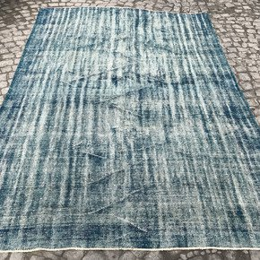 Blue-Handmade-Overdyed-Rug-Vintage-Turkish-Muted-Carpet_Istanbul-Carpet_Treniq_0