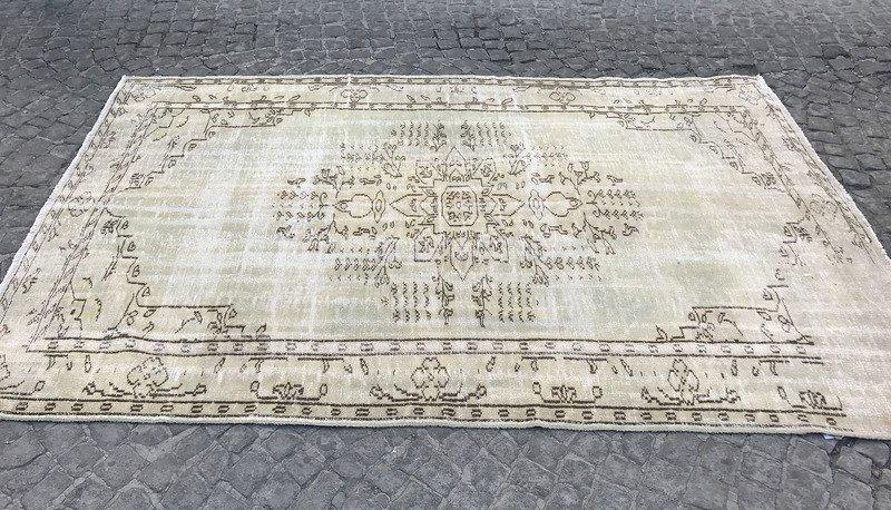 Greenish beige overdyed handmade rug   turkish oushak rugs istanbul carpet treniq 1 1493217257390